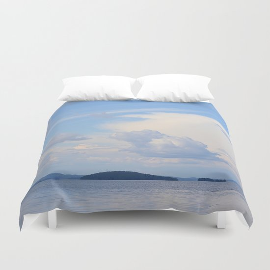White Clouds In The Blue Sky  Duvet Cover