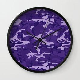 Pretty Purple Camo Pattern Wall Clock
