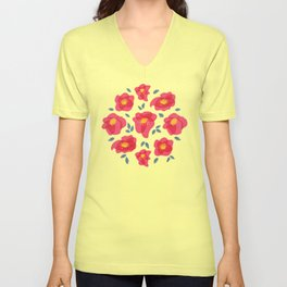 Pretty Flowers With Bright Pink Petals On Blue Unisex V-Neck