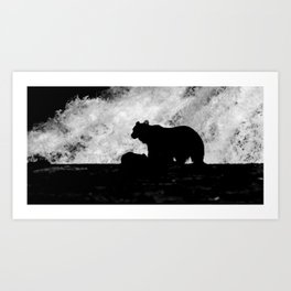 Grizzly Bear Silhouette Art Print