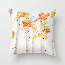 Autumn Birch Song Throw Pillow