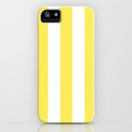 Maize yellow - solid color - white vertical lines pattern iPhone Case