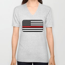 Thin Red Line American Flag Unisex V-Neck