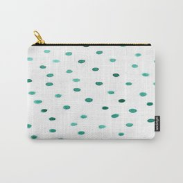 Green Brushstroke Watercolor Confetti Polka Dots Carry-All Pouch