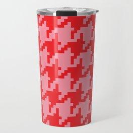 Houndstooth - Pink & Red Travel Mug
