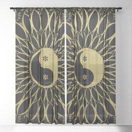 Mandala Yin Yang Gold Spiritual Zen Bohemian Hippie Yoga Mantra Meditation Sheer Curtain