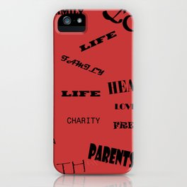 Red background with words decoration iPhone Case