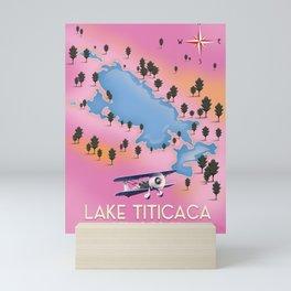 Lake Titicaca, Peru, Bolivia lake map travel poster. Mini Art Print