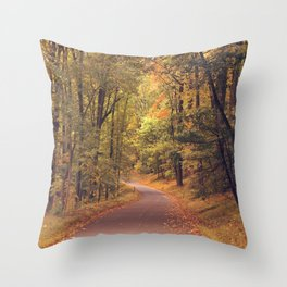 Empty New England Roads In Fall Throw Pillow