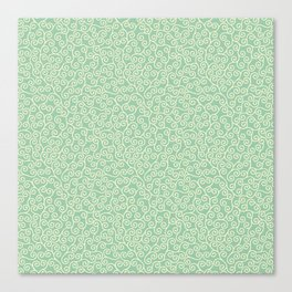 Japanese Scroll Pattern in Green & Yellow Canvas Print