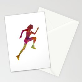 Woman runner running jogger jogging silhouette 02 Stationery Cards