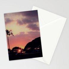 Dark Hawaii Sunset with Palm Tree Stationery Cards
