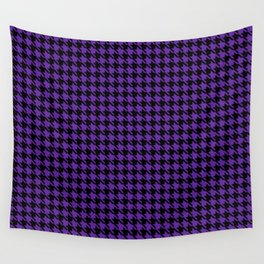 PreppyPatterns™ - Cosmopolitan Houndstooth - black and heather purple Wall Tapestry