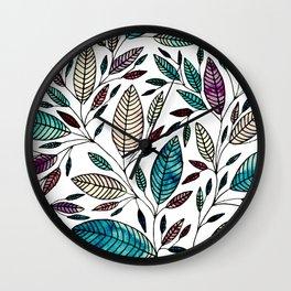 Leaf Illustration Pattern Wall Clock