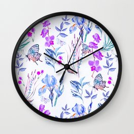 Modern purple blue watercolor hand painted orquid butterfly Wall Clock