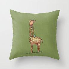 Cleo Giraffe Green Throw Pillow