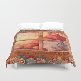 Sweet Light, Pomegranate, Tree Nuts and a Antique Map Duvet Cover