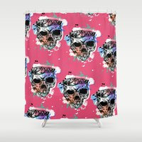 kindle Shower Curtains featuring 126 by ALLSKULL.NET