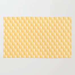 3D Optical Illusion Pattern: Yellow Dodecahedron Rug