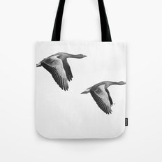 A Pair of Wild Geese Flying Together Synchronized Tote Bag