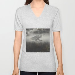 Dream Space - Surreal Image with A Whale Unisex V-Neck
