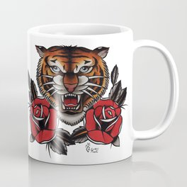 Old School Tiger and roses - tattoo Coffee Mug