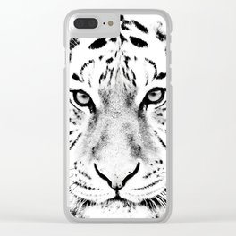 White Tiger Print Clear iPhone Case