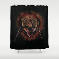 bee Shower Curtains featuring bee  by hueroth