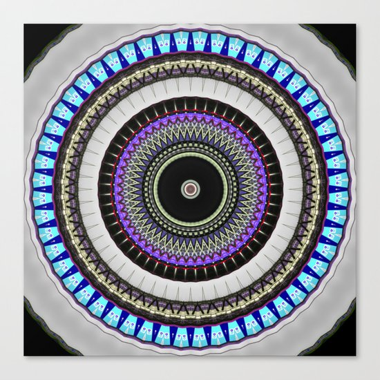 gray blue mandala Canvas Print