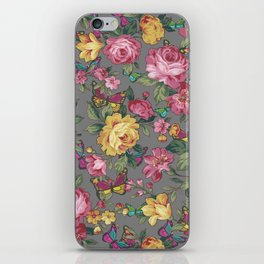 butterflies & roses iPhone Skin