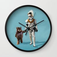 ewok Wall Clocks featuring Star Wars Buddies by lev man
