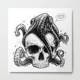 Octopus loves skull Metal Print
