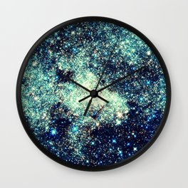 gAlAxY Stars Teal Turquoise Blue Wall Clock