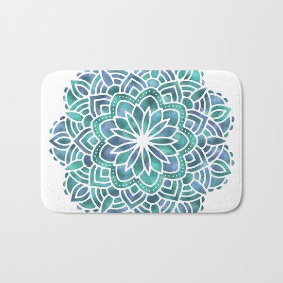 Mandala Succulent Blue Green Bath Mat