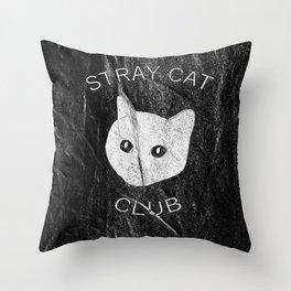 Stray Cat Club Black Background Throw Pillow