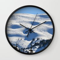 skiing Wall Clocks featuring Back-Country Skiing - II by Alaskan Momma Bear