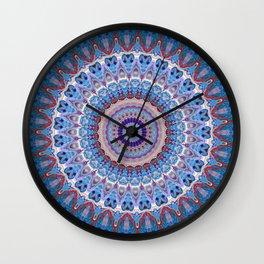 Blue and Red Vibrant Kaleidoscope Mandala Fun Design Wall Clock