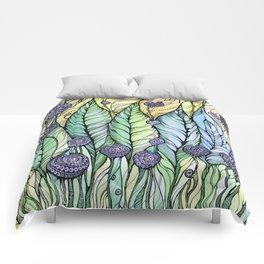 Dandelions.Hand draw  ink and pen, Watercolor, on textured paper Comforters