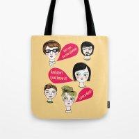 talking heads Tote Bags featuring Talking Heads in Yellow by Jonny Bateau