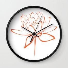 Lotus Blossom Calligraphy Orange Wall Clock