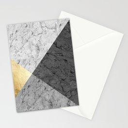 Gray marble and gold Stationery Cards