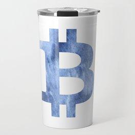 Bitcoin Blue clouds watercolor pattern Travel Mug