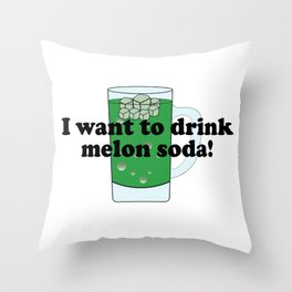 I want to drink melon soda メロンソーダ Throw Pillow