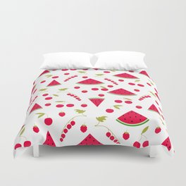 Pattern watermelon cherry raspberry currant Duvet Cover