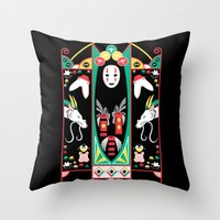 deco Throw Pillows featuring Spirited Deco by Ashley Hay