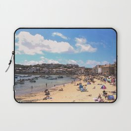 British Beach scene illustration, St Ives, English holiday resort Laptop Sleeve
