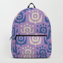 Mid Century Modern Retro Flower Pattern Lavender and Blue 931 Backpack