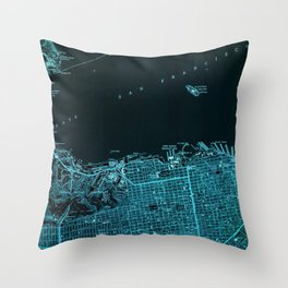 San Francisco North old map, vintage blue map Throw Pillow