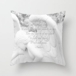 Guardian Angel Prayer | White Angel | Religious Art | Baptism | First Communion Throw Pillow