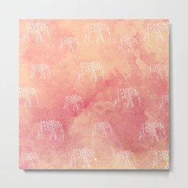 Elephant Love Orange Metal Print